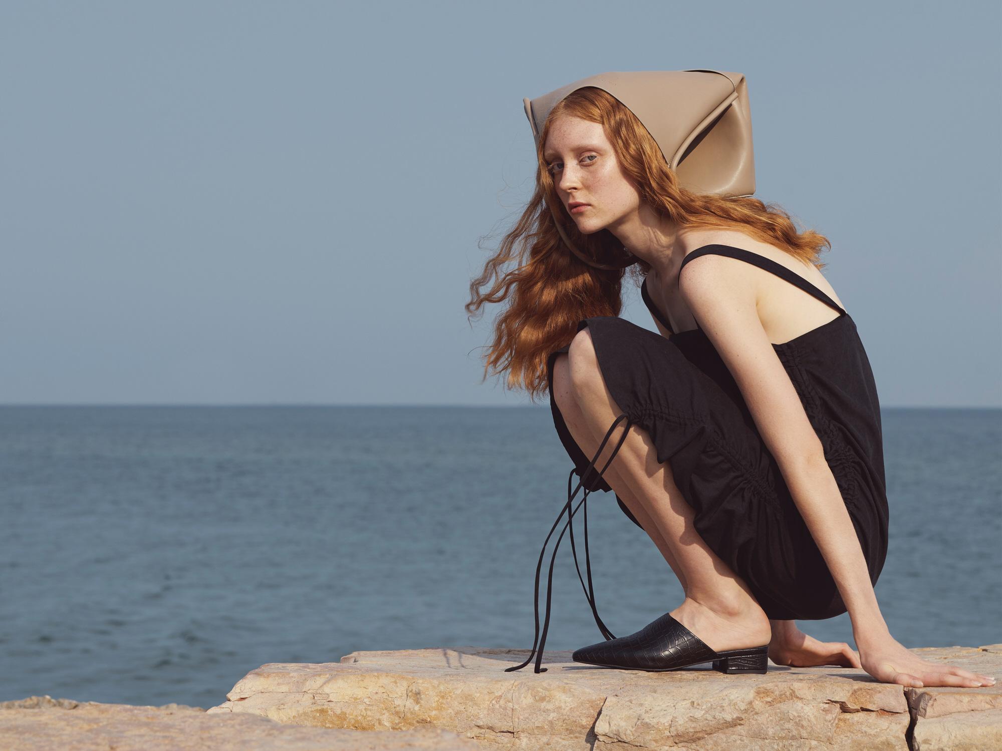 Women's clothing in black midi dress mules tote bag