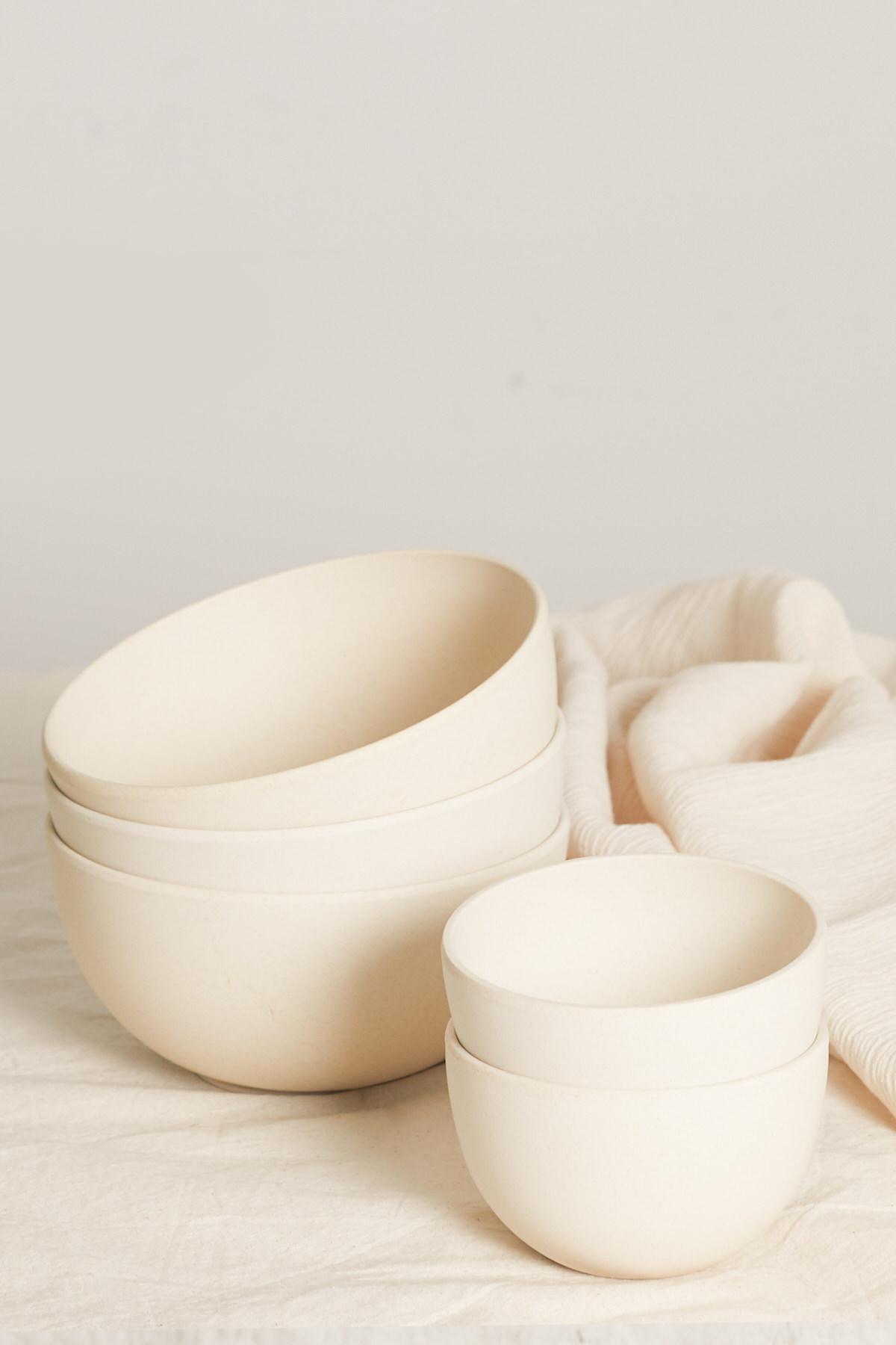 Small Bamboo Bowl Set 2855 Cream 1