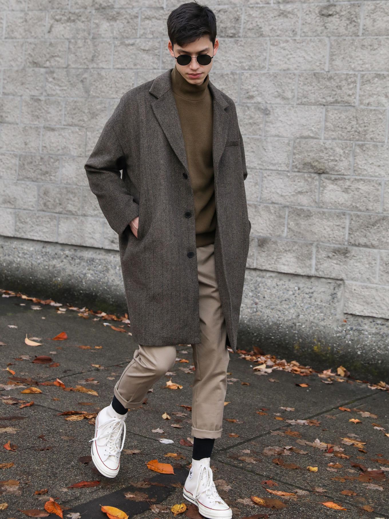 Mens casual print coat slim fit basic clothing